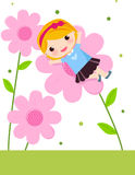 Cute girl and flower. Vector illustration of cute girl and flower Stock Image