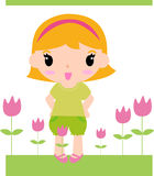 Cute girl and flower. Illustration of cute girl and flower Royalty Free Stock Image