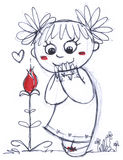 Cute girl with flower. A cute young girl smelling a red flower in the shape of a heart. Hand made black and white illustration with strokes of red paint Royalty Free Stock Photos