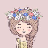 Cute girl in flower wreath. Beautiful girl with braid and flowers. Vector illustration stock illustration