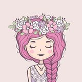 Cute girl in flower wreath. Beautiful girl with braid and flowers. Vector illustration vector illustration