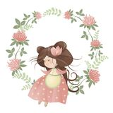 Cute girl in flower wreath. Isolated vector illustration Royalty Free Stock Image