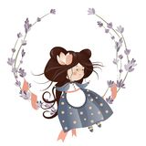 Cute girl in flower wreath. Isolated vector illustration Royalty Free Stock Images