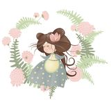 Cute girl in flower wreath. Isolated vector illustration Royalty Free Stock Photo