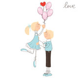 Cute girl fly away on the balloons. Valentine day illustration Stock Photos