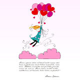 Cute girl flying away on heartshaped balloons Royalty Free Stock Photo