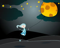 Cute girl flying away with the Moon as balloon Stock Images
