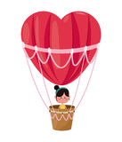 Cute girl flying heart airballoon valentine day Royalty Free Stock Image