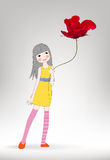 Cute girl of flying romantic rose Royalty Free Stock Image