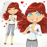 Cute girl folded heart out of the hands Stock Photography