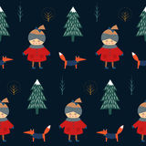Cute girl with fox walking in winter forest seamless pattern on dark blue background. Christmas scandinavian style nature illustration. Winter forest with baby Stock Photo