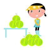 Cute Girl with fresh Water melons. Royalty Free Stock Photos
