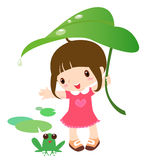Cute girl and frog. Cute girl hand a leave for frog,rainning,a kind of girl stock illustration