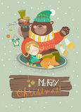 Cute girl, funny bear and owl celebrating Royalty Free Stock Photo