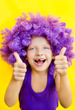 Cute girl in funny wig. Lovely girl in a purple wig showing happy emotions Stock Photos