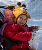 Cute girl in funny witer hat Royalty Free Stock Photo