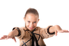 Cute girl with furry jacket on white background Royalty Free Stock Image