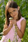 Cute Girl in the Garden Stock Photos