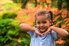 Cute girl in garden Stock Photo