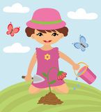 Cute girl gardening Stock Photo