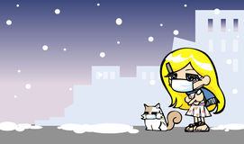 Cute girl get cold with cat. In winter, hand drawn  and illustration Stock Image