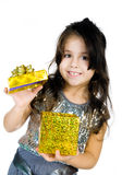 Cute girl with a gift Royalty Free Stock Photography