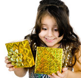 Cute girl with a gift Stock Image