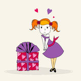 Cute girl with gift box Royalty Free Stock Image