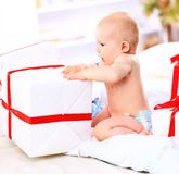 cute girl with gift Royalty Free Stock Image