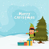 Cute girl with gifts for Merry Christmas. Royalty Free Stock Images