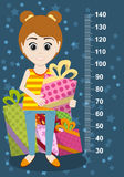 Cute girl with gifts meter wall from 30 to 140 centimeter. Vector Stock Photos