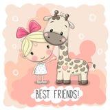 Cute Girl and Giraffe Stock Photos