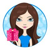 Cute girl give in hand a gift box. Vector Illustration Stock Photo