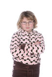 Cute girl with glasses and arms crossed Royalty Free Stock Photo