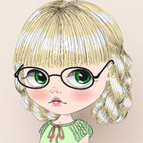 Cute girl in glasses with pigtails. royalty free illustration