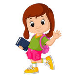 Cute girl go to school Royalty Free Stock Image