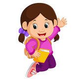 Cute girl go to school cartoon Royalty Free Stock Image
