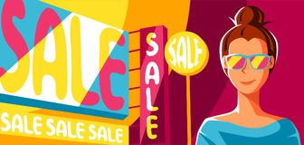 Cute girl goes on shopping. Illustration of young woman character Stock Illustration