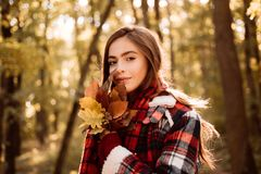 Cute girl in good mood posing in autumn day. Autumnal mood. Free autumn time. Cheerful beautiful girl in red sweater. Outdoors on beautiful fall day stock image
