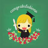 Cute girl graduate with flower and money on board Stock Photos