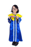 Cute girl graduate hold LEARN cube - isolated Royalty Free Stock Photography