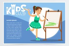 Cute girl in green dress painting on canvas. Creative blue poster for kids club. Studying at art class. Extra-curricular stock illustration