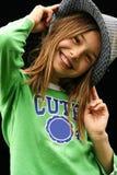 Cute Girl In Green Shirt Stock Photos
