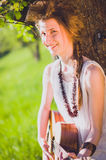 Cute Girl with guitar Stock Photography