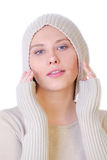 Cute girl with hair tucked away on a white background. Royalty Free Stock Image