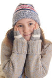 Cute girl with hands on her cheeks Stock Photo