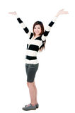 Cute Girl With Hands Raised Royalty Free Stock Image