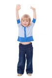 Cute girl with hands up Stock Image