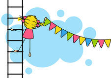 Cute girl hanging party flags Stock Photos