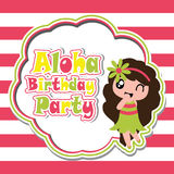 Cute girl is happy in Aloha party  cartoon on striped background, birthday postcard, wallpaper, and greeting card. T-shirt design for kids Stock Photos